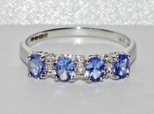 9ct White Gold Tanzanite (AAA) & Diamond Ladies Eternity Ring size K -Gift boxed