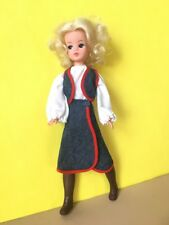 Vintage 70s blue denim red trim skirt top set fit Sindy Barbie doll SHIMMYSHIM