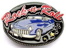 Rock-n-Roll Belt Buckle, blue car