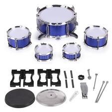Blue Drum Set 5 Piece Junior Complete Child Kids Kit with Stool Stick U0W1