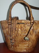 Brahmin Small Bowie Melbourne Croc-Embossed Leather Satchel Tamarind