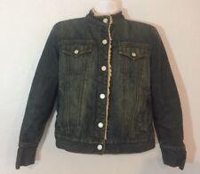 GAP Denim Trucker Jacket Women's L fits like M Fleece Lined Sherpa Jean Snap (65