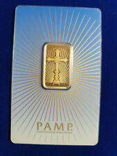 10 g gram Gold Bar -PAMP SUISSE - 999.9 Fine in Sealed RARE CRUCIFIX Assay