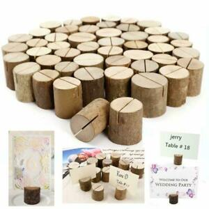 100 Wooden Table Card Holder Stand Number Place Name Menu Wedding Party Decor