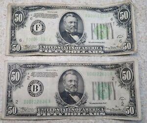 1934 $ 50 Dollar Bill Note Paper Grant Lot (2)