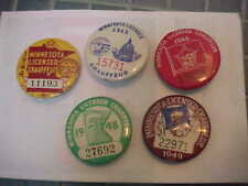 5 Vintage 1944 - 1949 no 1947  Minnesota Licensed Chauffeur Pinback Button Badge