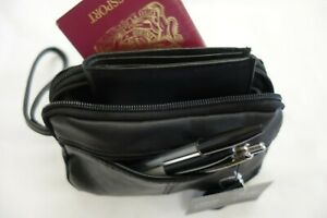 Gents Soft Leather Wrist Bag with Four Zipped Pockets for travel Taxi etc Small