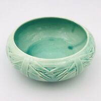 Vintage McCoy Aqua Green Turquoise Planter Console Bowl Tree Pattern MCM USA