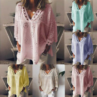 Women Summer 3/4 Sleeve Casual Loose Hollow Out Lace V Neck T Shirt Blouse Tops