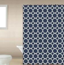 Galaxy Navy & White 13-Pc Bath Shower Curtain & Rings Bathroom Accessory Set