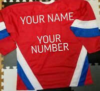 Customize any name number embroidered Russia Ice Hockey Replica Russian Jersey