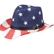 Cowboy Hat Stars USA American Flag western men women BLUE RED WHITE