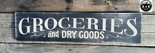 LARGE Rustic Wood Sign GROCERIES AND DRY GOODS Country Farm KITCHEN Distressed
