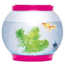 5l Litre Glass Fish Bowl Tank With 2 LED Lights Aquarium Goldfish Accessories Pink
