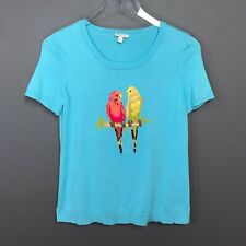 Talbots Petites Cotton Short Sleeve Sweater with Parrots Size Small Petite