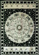 Wall Hanging Astrology Small Tapestry Poster Cotton Fabric Indian Black White