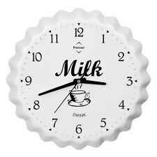 Premier Housewares Retro Wall Clock, Milk Bottle Cap, White Aluminium