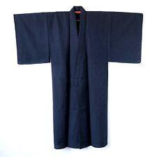 Japanese Vintage Men's Wool Dark Navy Kimono K41