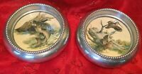 "Pair Of Silverplate? Wildlife Coasters For Wine Bottle 3""+"