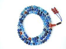 Tibetan Mala Blue Agate 108 Beads with Carnelian Guru Bead and Spacers