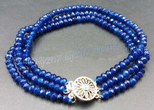 Pretty 2x4mm 3 Rows Blue Sapphire Gemstone Faceted Rondelle Beads Bracelet 7.5''