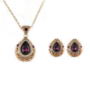 Fashion Jewelry - 18k Rose Gold Plated Drop Purple Crystal Set (FS160)