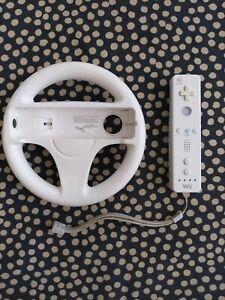 Nintendo Wii Remote Controller Wiimote White (RVL-003) OEM + steering wheel!