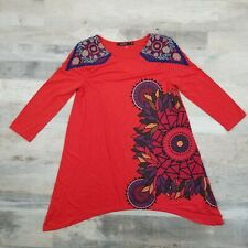 Desigual Top 3/4 Sleeves Embroidered Shoulders Red Blouse Size Large L
