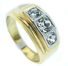 Mens Three Clear Stones Gold Plated Two-Tone Silver Top Mens Ring