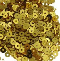 1200 Pailletten 4mm Gold Rund Glatt Perlen Basteln Nähen Dekoration BEST PAI42