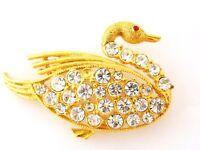 Vintage Swan Bird Brooch Avian Coat Sweater Pin Mid Century Costume Jewelry