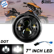 """DOT 7"""" inch Motorcycle Headlight Round CREE LED Projector For Harley Cafe Racer"""