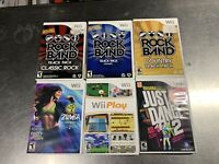 Lot Of 6 Nintendo Wii Games Rockband Wii Play Just Dance Zumba