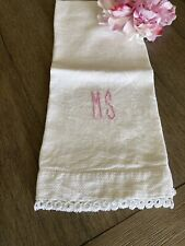 Vintage Art Deco Monogram MS Guest Towel With Tatted Lace 🌺