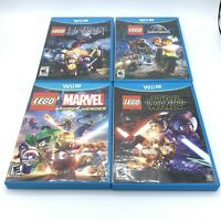 Lot Of 4 LEGO Nintendo Wii U Games The Hobbit Star Wars Jurassic World Marvel