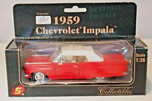 Superior 1959 Chevrolet Impala 1:36 Diecast Miniature Pull Back Spring Action