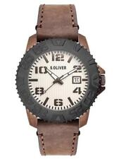 S.Oliver Men's Watch so-2934-lq Analogue Leather Brown