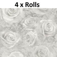 4 Rolls Arthouse Reverie Silver Wallpaper Floral Roses Filigree Grey Flowers