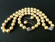 Fashion 10mm Golden Shell Pearl Round Beads Necklace bracelet Earrings Set AAA+