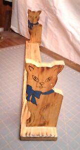 Vintage Folk Art Cats Hanging Wood Wall Book Shelf
