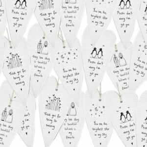 East of India Porcelain Hanging Heart | Sentimental Keepsake Gift Friend Family