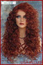 LACE FRONT LONG CURLEY RED WIG T33.130 GORGEOUS SEXY STYLE USA SELLER 276
