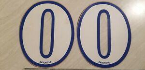 "old school ZeroNine BMX White & Blue number plate 0 NOS 6.5"" big fat wide 2 #'s"