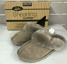 Kirkland Signature Ladies' Shearling Slippers Stone / Grey NEW