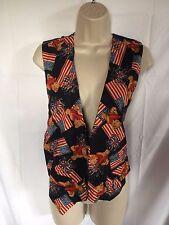 JLN USA Teddy Bear Patriotic American Flag Vest Size M Medium 4TH OF JULY