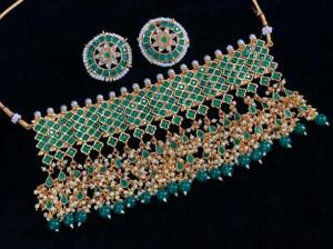Traditional Bollywood Style Gold Bridal Kundan Pearl Necklace Women Jewelry Sesa