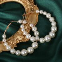 Elegante weiße Perlen Creolen Frauen kleine große Perle  Ohrringe Modeschmuck