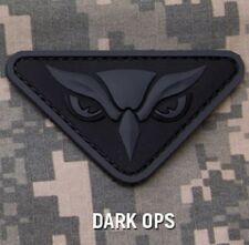 OWL HEAD PVC INTEL MILITARY ISAF MILSPEC DARK OPS VELCRO® BRAND FASTENER PATCH