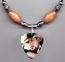 Jason Aldean Photo Guitar Pick Necklace Light Brown Beads
