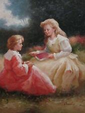 """Sibling Storytelling Original Hand Painted 20""""x24"""" Oil Painting Figures Art"""